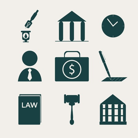 Legal, law and justice icon set. Dark silhouette.  Vector