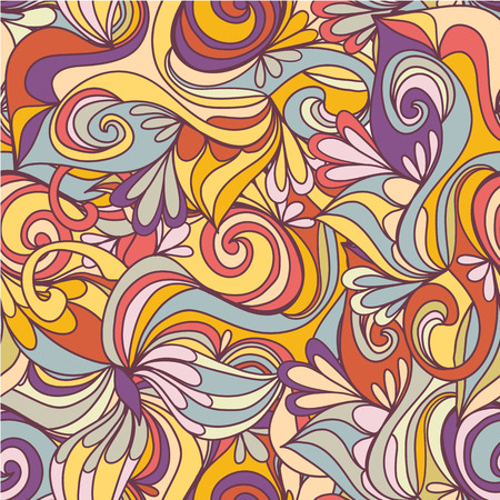 Seamless wave hand-drawn pattern, waves background Vector
