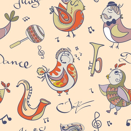 Cartoon jazz orchestra concept wallpaper Vector