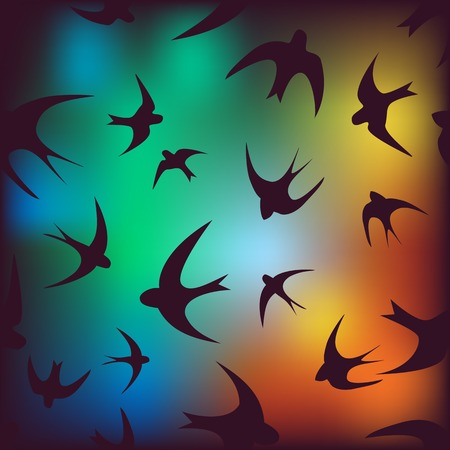 Seamless background with swallows Vector