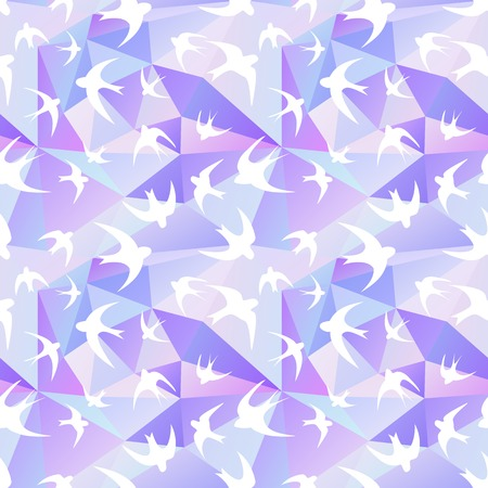 bird wings: Seamless texture with the swallow, and triangles. White silhouettes of birds. Mosaic effect