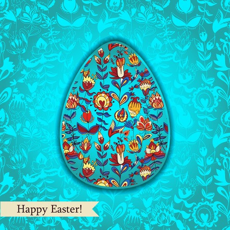 Easter egg turquoise blue greeting card with flowers. Use as greeting card.