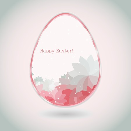 Easter egg pink pale greeting card with flower petal. Use as greeting card. Vector