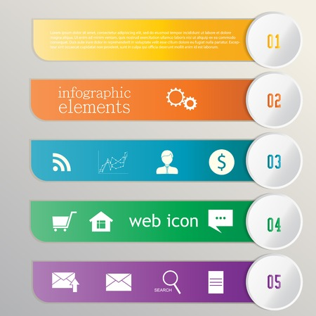 Colorful banners - ribbons. Elements  for infographics, graphic design or web banners, web icons Vector