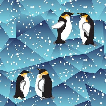 ice surface: abstract blue crystal ice background   with penguin. seamless pattern, use as a surface texture