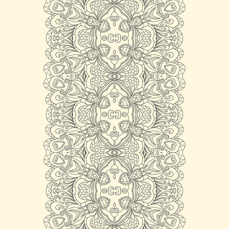 fancywork: Lace fabric seamless border with abstract ornament.