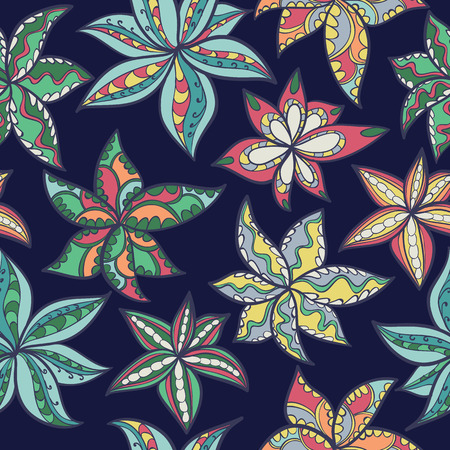 Seamless abstract hand-drawn floral texture. Bright color. Endless pattern with ethnic flowers. Illustration