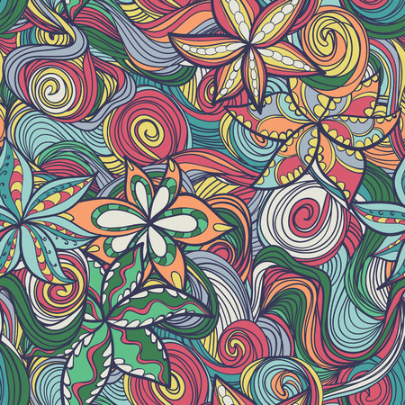 Seamless abstract wave hand-drawn texture with flowers. Bright color. Endless pattern.