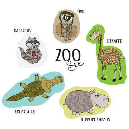 cartoon zoo set with owl, raccoon, crocodile, hippo, giraffe Vector