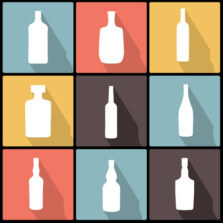 Bottle Icons in Flat Design for Web and Mobile. alcohol bottle