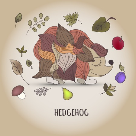 Hedgehog with fruit and leaves. cartoon illustration Vector