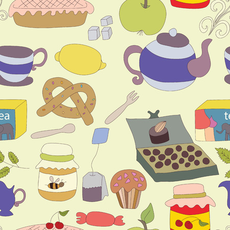 Tea Party with cup of tea and desserts, fruits. Cartoon seamless pattern Vector