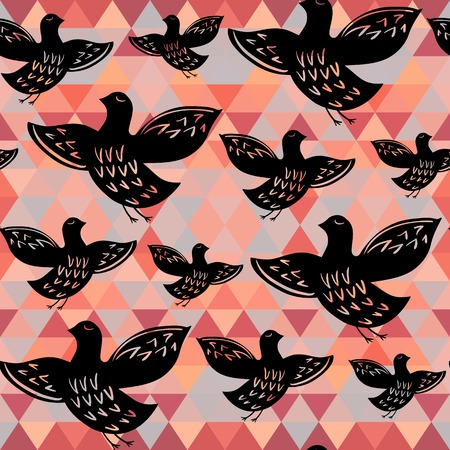 Silhouette of black ethnic birds. Seamless pattern Vector