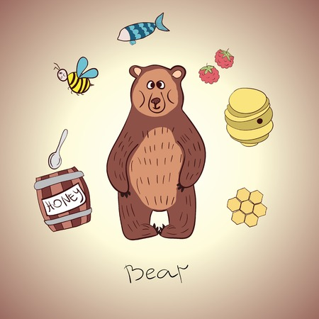 cartoon bear and his food. fish, honey, raspberry Vector