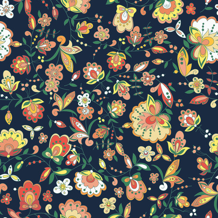 floral pattern with colorful  blooming flowers, seamless texture Ilustrace