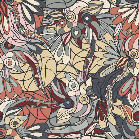 psychoanalysis: Seamless abstract hand-drawn texture. Bright pastel color. Endless floral pattern.