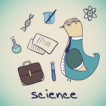 Vector bird Science Professor. scientific attributes. Vector