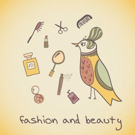 Postcard illustration of a beautiful bird. Attributes beauty. makeup cosmetics and fashion beautiful bird Vector