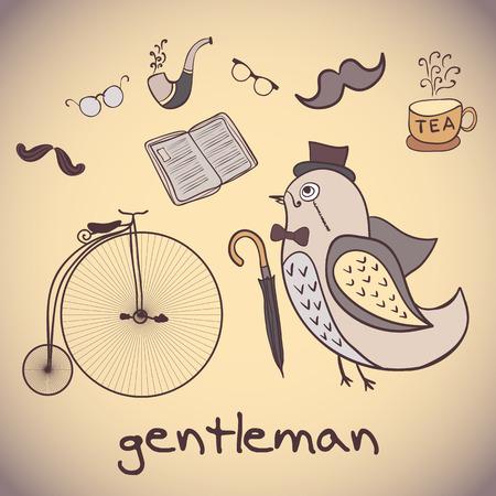 dandy: Postcard illustration, bird gentleman. attributes dandy. Use as greeting card