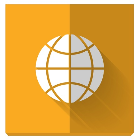 application sign: paper flat icon with a shadow. symbol of globe Illustration
