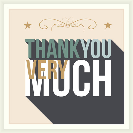 Thank you card, with font, typography style Vector