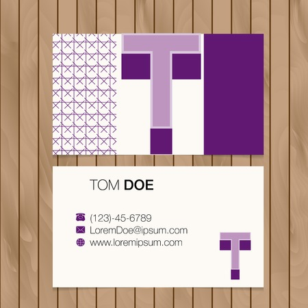 Business card with alphabet letter on a wood background. Vector template editable Vector