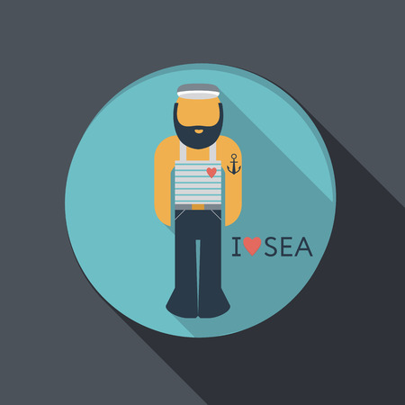 flat icon with a shadow, sailor with a beard Vector