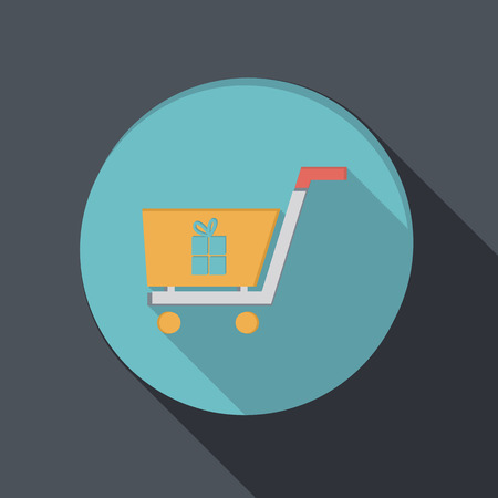 paper flat icon with a shadow, cart online store, Internet shop Vector