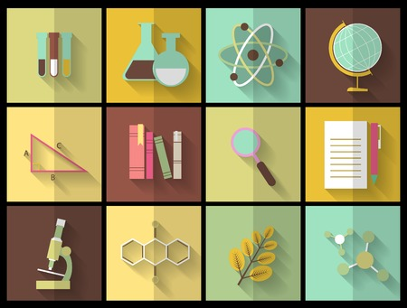 Satz Flach Bildung Symbole für Design. Wissenschaft Symbol Illustration