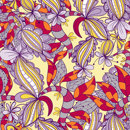 psychoanalysis: Seamless abstract hand-drawn texture. Floral pattern. color seamless floral background Illustration