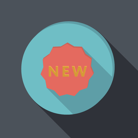 paper flat icon with a shadow. label new Vector