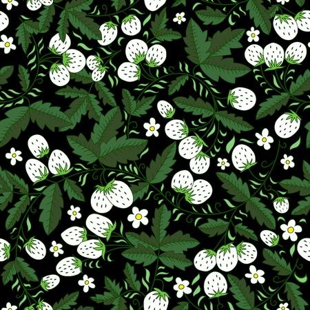 dark texture: oscura textura sin fisuras con las fresas y las hojas. Vectores
