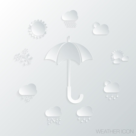 paper icon with a shadow. umbrella and weather symbols Vector