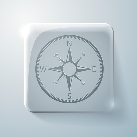 highlights: Glass square icon with highlights. compass sign