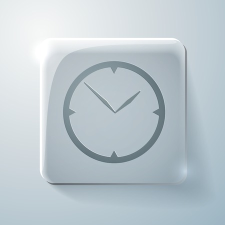 highlights: Glass square icon with highlights. clock. watch