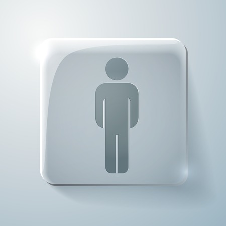 Glass square icon with highlights. the silhouette of a man Vector