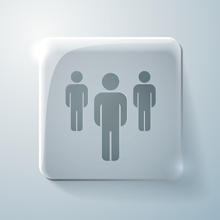 Glass square icon with highlights. the silhouette of a men Vector