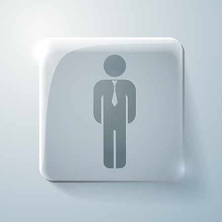 Glass square icon with highlights.the silhouette of a business man in a tie Vector