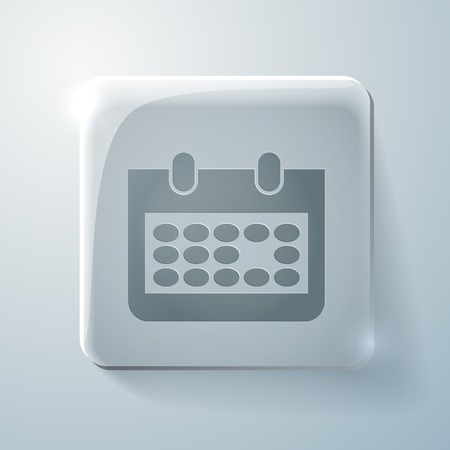 highlights: Glass square icon with highlights. calendar sign Illustration