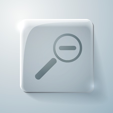 mitigation: Glass square icon with highlights. magnifier reduction