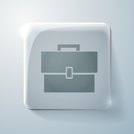 highlights: Glass square icon with highlights. briefcase symbol