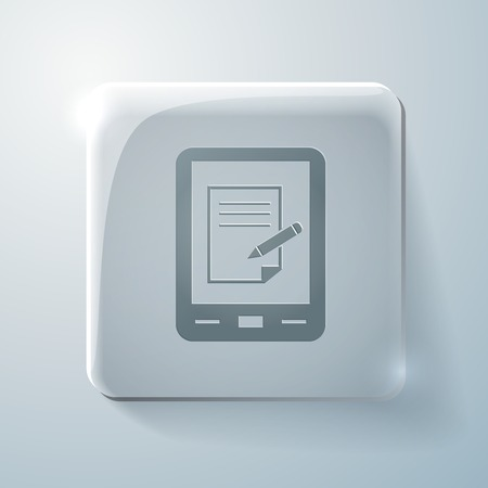 tablet pad with sheet of paper. Glass square icon with highlights Vector