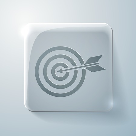 target sign. Glass square icon with highlights Vector