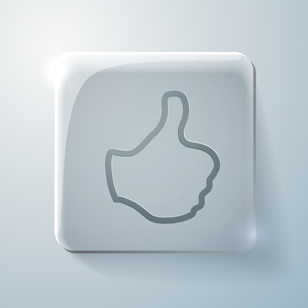 highlights: symbol thumb up. Glass square icon with highlights Illustration