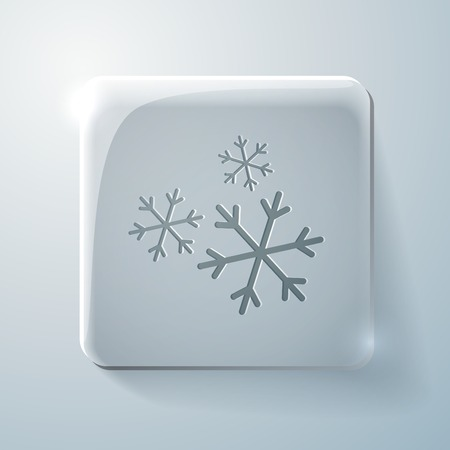 snowflake sign. Glass square icon with highlights Vector