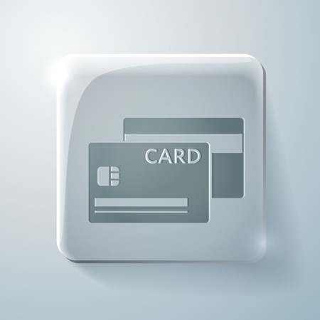 highlights: credit card. Glass square icon with highlights