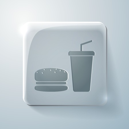 burger and paper cup with a drink . Glass square icon with highlights Vector