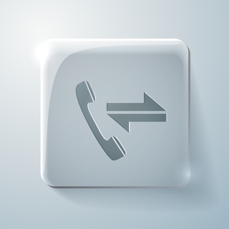 outgoing: incoming and outgoing call. Glass square icon with highlights Illustration