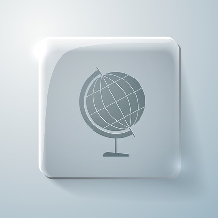 highlights: globe symbol of geography. Glass square icon with highlights