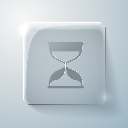 hourglass waiting sign. Glass square icon with highlights Vector